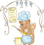 Cuoco unico del gatto con la vaschetta. Fotografia Stock