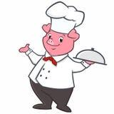 Cuoco unico del maiale del fumetto Immagini Stock