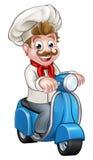 Cuoco unico del motorino del ciclomotore di consegna del fumetto Fotografia Stock