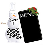 Cuoco unico del pupazzo di neve di vettore con il menu di cristmas Illustrazione di Stock