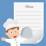 Cuoco unico del ristorante con il menu in bianco Immagine Stock Libera da Diritti
