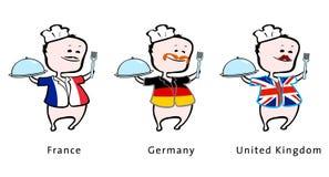 Cuoco unico del ristorante dalla Francia, Germania, Regno Unito Fotografie Stock