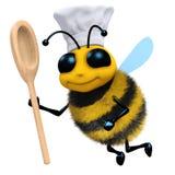 cuoco unico dell'ape 3d con il cucchiaio Fotografie Stock Libere da Diritti
