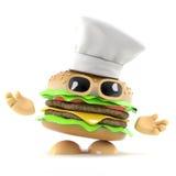 cuoco unico dell'hamburger 3d Fotografia Stock Libera da Diritti