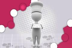 cuoco unico dell'uomo 3d con l'illustrazione del vassoio Immagini Stock