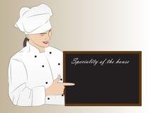 Cuoco unico della donna che presenta specialità della casa Immagine Stock
