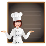 Cuoco unico della giovane donna con una lavagna in bianco per elencare odierno menu Immagine Stock Libera da Diritti