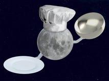 Cuoco unico della luna con il piatto Fotografia Stock Libera da Diritti