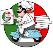 Cuoco unico della pizza di consegna Fotografia Stock