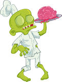 Cuoco unico dello zombie del fumetto che serve un cervello Fotografia Stock Libera da Diritti