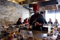 Cuoco unico di Hibachi del giapponese Fotografie Stock Libere da Diritti