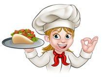 Cuoco unico di kebab della donna del fumetto Immagine Stock
