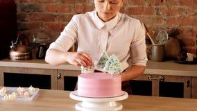 Cuoco unico di pasticceria di affari del dolce che decora dolce rosa archivi video