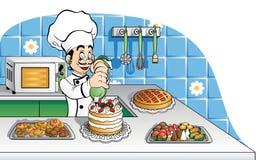 Cuoco unico di pasticceria felice sul lavoro Fotografia Stock