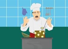 Cuoco unico di una cucina che cucina cena Immagine Stock