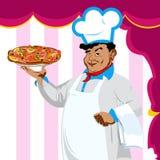 Cuoco unico divertente e pizza italiana Immagine Stock