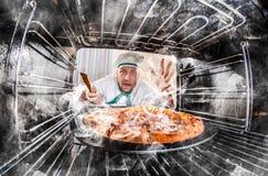 Cuoco unico divertente sconcertato ed arrabbiato Il perdente è destino! Fotografie Stock