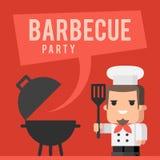 Cuoco unico e concetto della griglia del barbecue Fotografie Stock Libere da Diritti