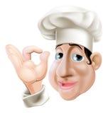 Cuoco unico felice che fa gesto giusto illustrazione di stock
