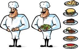 Cuoco unico felice con alimento illustrazione vettoriale