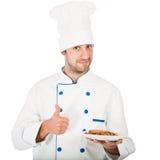 Cuoco unico felice isolato fotografie stock libere da diritti