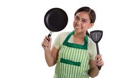 Cuoco unico felice nel verde Immagine Stock Libera da Diritti