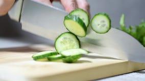 Cuoco unico femminile che affetta cetriolo fresco con un coltello sul bordo di legno, verdure stock footage