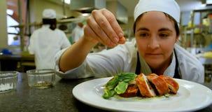Cuoco unico femminile che spruzza sale sul piatto in cucina 4k stock footage