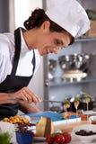 Cuoco unico femminile felice fotografia stock libera da diritti
