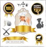Cuoco unico femminile sorridente che mostra segno giusto Distintivo, annata, struttura, siluetta Fotografie Stock
