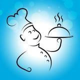 Cuoco unico Food Shows Cooking in cucina e nell'approvvigionamento illustrazione di stock
