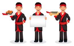 Cuoco unico giapponese che cucina i rotoli di sushi illustrazione vettoriale