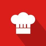Cuoco unico Hat Flat Icon con fondo rosso Immagine Stock