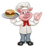 Cuoco unico Holding Burger del maiale del personaggio dei cartoni animati Illustrazione Vettoriale