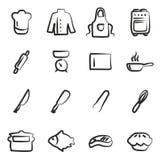 Cuoco unico Icons Freehand Fotografia Stock Libera da Diritti