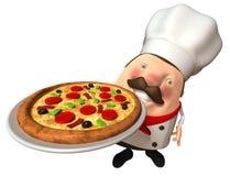 Cuoco unico italiano con una pizza Fotografie Stock