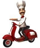 Cuoco unico italiano con una pizza Fotografie Stock Libere da Diritti