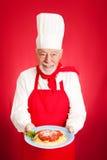 Cuoco unico italiano - spaghetti Marinara immagine stock libera da diritti