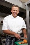 Cuoco unico maschio che prepara le verdure Immagine Stock Libera da Diritti