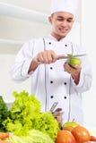 Cuoco unico maschio che prepara un certo alimento fotografia stock