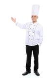 Cuoco unico maschio che sorride presentando spazio in bianco immagine stock libera da diritti