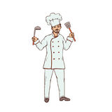 Cuoco unico maschio del ristorante in cappello uniforme e bianco con la siviera ed il cucchiaio scanalato a disposizione Lavorato Immagine Stock