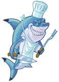 Cuoco unico medio dello squalo del fumetto con gli utensili del barbecue Fotografie Stock Libere da Diritti