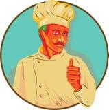 Cuoco unico With Mustache Thumbs sul cerchio WPA illustrazione di stock