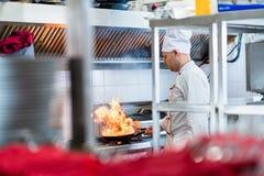 Cuoco unico o cuoco nella cucina dell'hotel che cucina i piatti fotografia stock libera da diritti