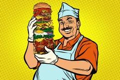 Cuoco unico orientale sorridente dell'alimento della via Grande hamburger royalty illustrazione gratis