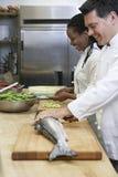 Cuoco unico Preparing Salmon By Colleague fotografie stock libere da diritti
