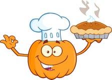Cuoco unico Pumpkin Cartoon Character che tiene torta perfetta Immagini Stock Libere da Diritti