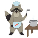 Cuoco unico Racoon del fumetto Fotografia Stock Libera da Diritti