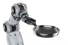 Cuoco unico robot con la pentola illustrazione vettoriale